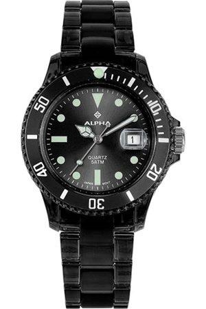 Alpha Saphir Hombre Relojes - 250A - Reloj analógico de caballero de cuarzo con correa de plástico negra - sumergible a 50 metros