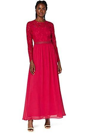 TRUTH & FABLE Mujer Largos - Marca Amazon - Vestido Largo Evasé de Encaje Mujer, (Fushia Pink), 42