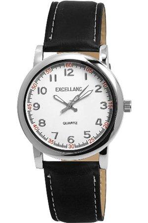 Excellanc 293022000091 - Reloj analógico de caballero de cuarzo con correa de piel negra