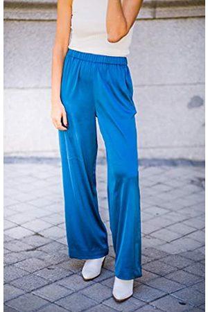 The Drop Mujer Pantalones y Leggings - Por @balamoda - Pantalón de pernera ancha sin cierre para mujer (L)