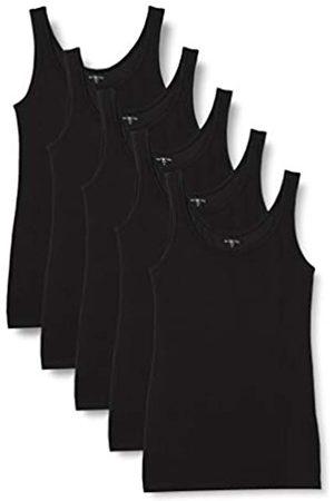 IRIS & LILLY Mujer Sin mangas - Camiseta de Tirantes de Algodón Mujer, Pack de 5 (Black), L