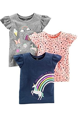 Simple Joys by Carter's 3-Pack Short-Sleeve Graphic Tees Camiseta, Gray, Pink, Navy Unicorn, 2T