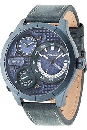 Police Hombre Relojes - 14638XSUBL/03 - Reloj de Cuarzo para Hombre con Esfera y Correa de Piel Azules 14638/03