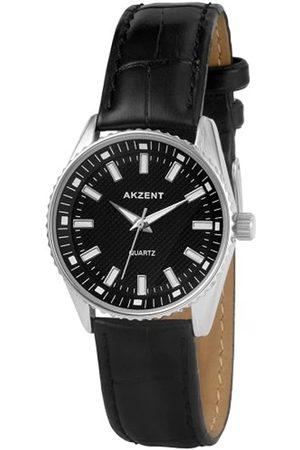 Akzent SS8021000001 - Reloj analógico de mujer de cuarzo con correa de piel negra