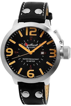 Engelhardt Hombre Relojes - 385721129063 - Reloj analógico de caballero automático con correa de piel negra - sumergible a 50 metros
