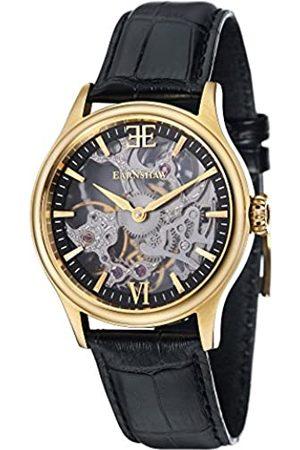 THOMAS EARNSHAW Hombre Relojes - Thomas Earnhshaw – Reloj mecánico de hombre Bauer Shadow con esfera negra, mecanismo a la vista y correa de cuero negra
