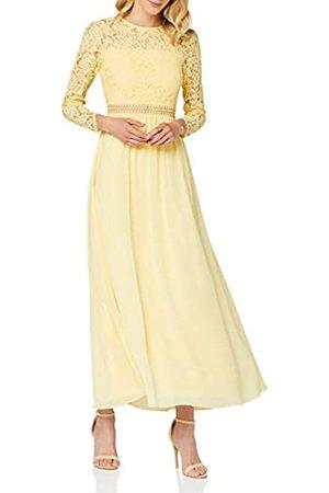 TRUTH & FABLE Mujer Largos - Marca Amazon - Vestido Largo Evasé de Encaje Mujer, (Light Yellow), 46