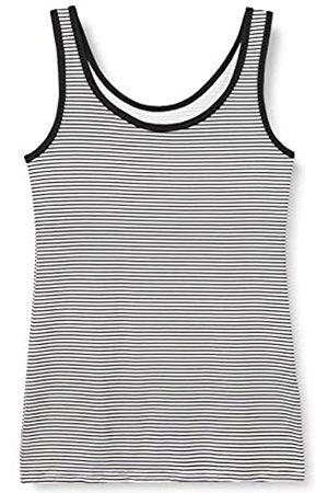 IRIS & LILLY Camiseta de Tirantes de Algodón para Mujer, Pack de 2, 1 x & 1 x Rayas Blancas y Negras