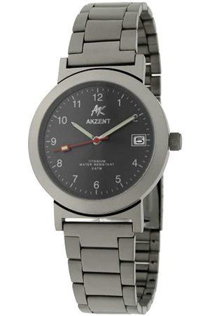 Akzent 322221428002 - Reloj analógico de caballero de cuarzo con correa de titanio - sumergible a 30 metros