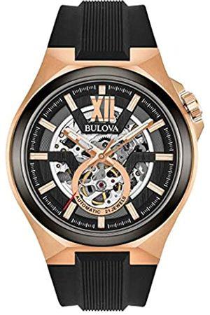 Bulova Hombre Relojes - Reloj Analógico para Hombre de Automático con Correa en Silicona 98A177