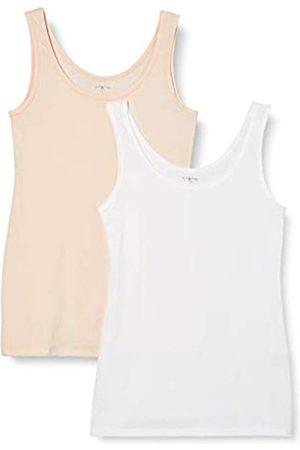 IRIS & LILLY Mujer Sin mangas - Camiseta de Tirantes de Algodón para Mujer, Pack de 2, 1 x & 1 x Claro
