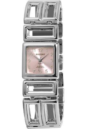 Akzent SS7123800072 - Reloj analógico de mujer de cuarzo con correa de aleación plateada - sumergible a 30 metros