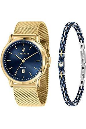 Maserati Hombre Relojes - Epoca Reloj Hombre, Solo Tiempo, 3H, en Acero, PVD Oro, y Pulsera de Acero