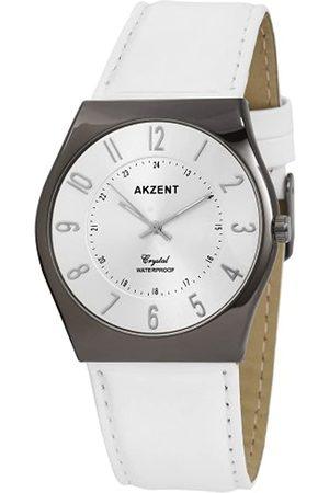 Akzent SS7272500013 - Reloj analógico de caballero de cuarzo con correa de piel blanca - sumergible a 30 metros