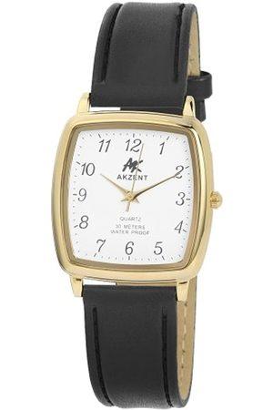 Akzent SS7202000012 - Reloj analógico de caballero de cuarzo con correa de piel negra