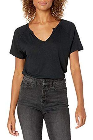 Goodthreads Mujer Jerséis y suéteres - Linen Modal Jersey Short-Sleeve Slit-Neck T-Shirt Camisa