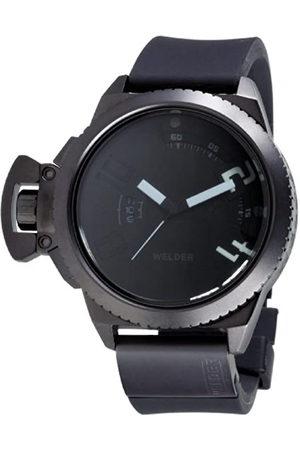 Welders K24 Black Steel 48Mm Chrono - Reloj analógico de caballero de cuarzo con correa de goma negra - sumergible a 100 metros