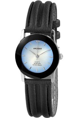 Akzent SS7923500004 - Reloj analógico de mujer de cuarzo con correa de piel negra - sumergible a 30 metros