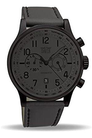Davis Hombre Relojes - 1029 - Reloj Aviación Hombre Hombre 42mm Phantom Cronógrafo Sumergible 50M Esfera Correa de Piel