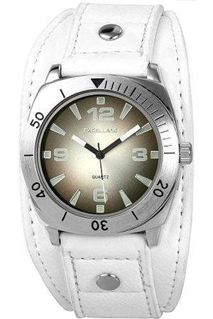 Excellanc 295021000069 - Reloj analógico de caballero de cuarzo con correa de piel blanca