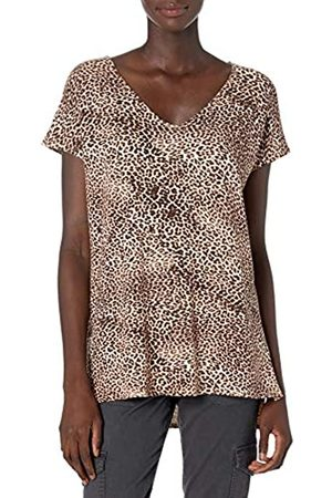 Daily Ritual Mujer Estampadas - Marca Amazon - Supersoft Terry Dolman-Sleeve V-Neck Tunic shirts, leopard print