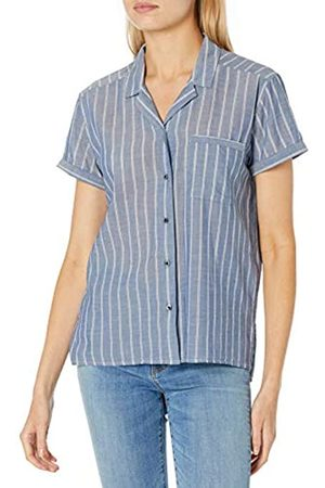 Goodthreads Camisa de Campamento de algodón Dobby Shirts, Doble Rayas índigo/