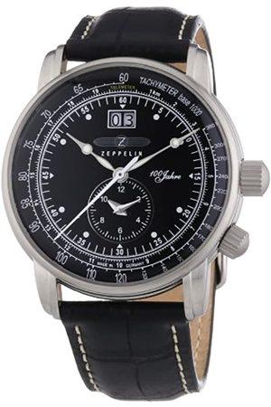 Zeppelin 100 Jahre - Reloj analógico de caballero de cuarzo con correa de piel negra
