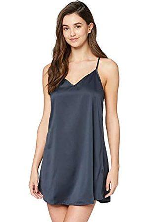 IRIS & LILLY Marca Amazon - Camisón Corto de Tirantes con Detalle de Encaje para Mujer, (Dark Grey), XS