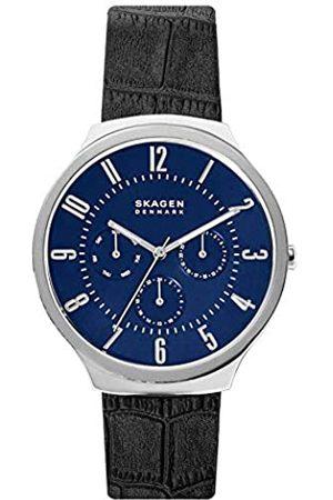 Skagen Hombre Relojes - Reloj Analógico para Hombre de Cuarzo con Correa en Cuero Genuino SKW6535
