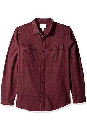 Amazon Slim-Fit Long-Sleeve Solid Flannel Shirt Button-Down-Shirts, Borgoña Jaspeado