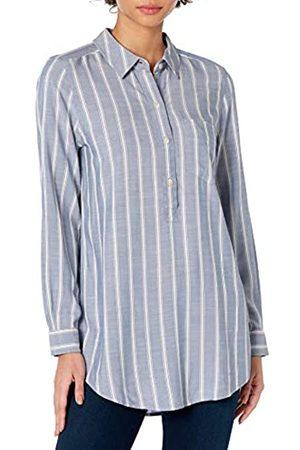 Daily Ritual Amazon Brand - Women's Soft Rayon Slub Twill Long-Sleeve Popover Tunic, Chambray Blue Awning Stripe