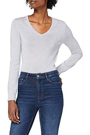 MERAKI Mujer Jerséis y suéteres - Marca Amazon - Jersey de Merino Mujer Cuello Pico, (Light Grey Marl), 36