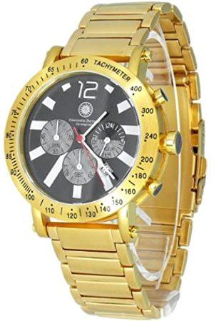 Constantin Durmont Hombre Relojes - Predator - Reloj cronógrafo de caballero de cuarzo con correa de acero inoxidable dorada (cronómetro) - sumergible a 30 metros
