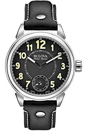 BULOVA Accu Swiss Military 63A120 - Reloj mecánico para Hombre con Esfera analógica Negra y Correa de Piel Negra