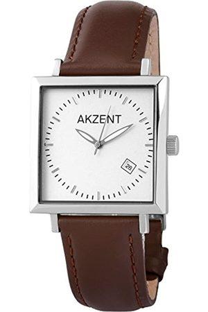 Akzent Hombre Relojes - 352322629001 - Reloj analógico de caballero de cuarzo con correa de piel - sumergible a 30 metros