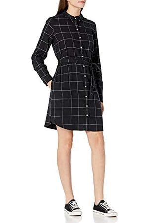 Goodthreads Mujer Casual - Brushed Flannel Shirt Dress Button-Down-Shirts, Off-White/Black Windowpane Plaid
