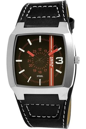 Just Uhren 48-S4857-BK-R - Reloj analógico de caballero de cuarzo con correa de piel negra