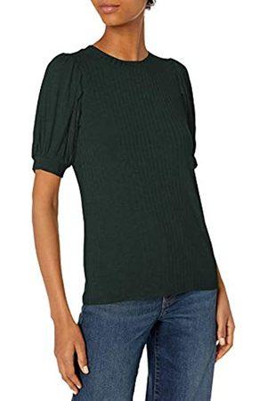 Daily Ritual Mujer Camisetas y Tops - Rayon Spandex Wide Rib Puff Sleeve Top Camisa M