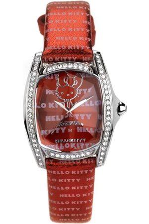 Hello Kitty CHRONOTECH for - Reloj analógico de mujer de cuarzo con correa de piel roja - sumergible a 30 metros