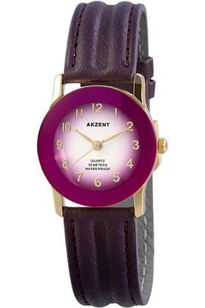Akzent Mujer Relojes - SS7303700023 - Reloj analógico de mujer de cuarzo con correa de piel lila - sumergible a 30 metros
