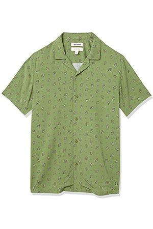 Goodthreads Camisa Hawaiana de Manga Corta con Cuello de Campamento L