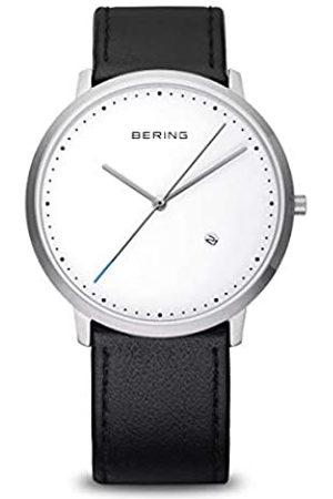 Bering Classic Reloj analógico para Hombre de Cuarzo con Correa de Piel Negra