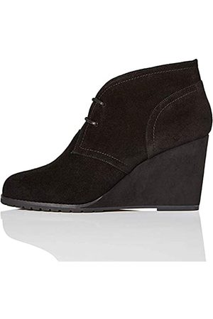 FIND Lace Up Wedge Bootie Botines, Black