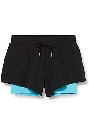 AURIQUE Marca Amazon - Shorts para Correr con Doble Capa Mujer, ( / Maui)., 38