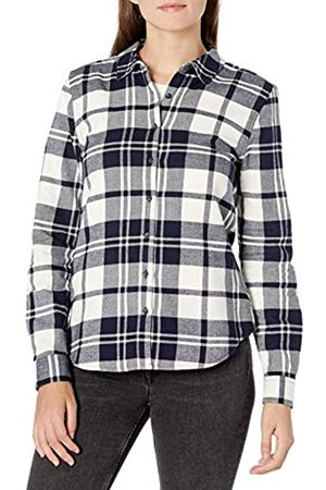 Goodthreads Brushed Flannel Drop-Shoulder Long-Sleeve Shirt Button-Down-Shirts, Navy Oversize Check