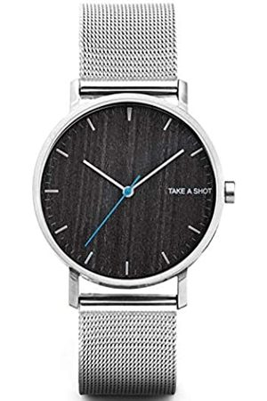 Take A Shot – Reloj analógico para Hombres con Caja de Madera, Ø 40mm, Pulsera de Metal