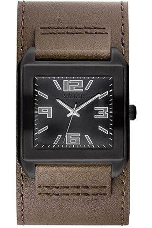 s.Oliver SO-2629-LQ - Reloj analógico para Caballero de Cuero