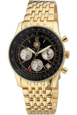 Constantin Durmont Air Commander Gold/Black AirGDBK - Reloj cronógrafo de caballero de cuarzo con correa de acero inoxidable dorada