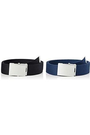 FIND Marca Amazon - Cinturón de Tela Hombre, Pack de 2, S