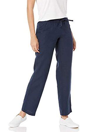 Amazon Mujer Pantalones anchos y harén - Pantalón de Pierna Ancha con cordón de Mezcla de Lino